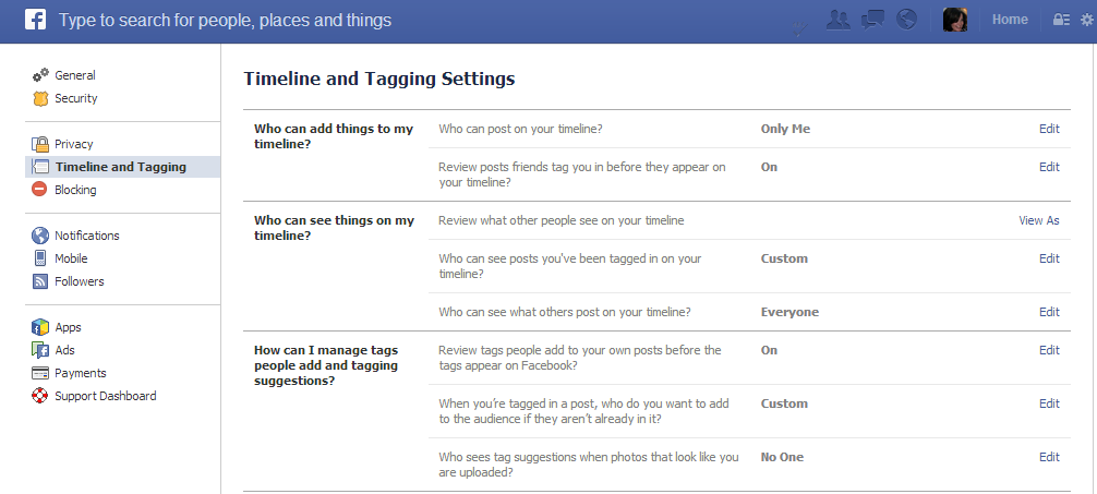 facebook timeline and tagging