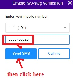 enter number in yahoo mail