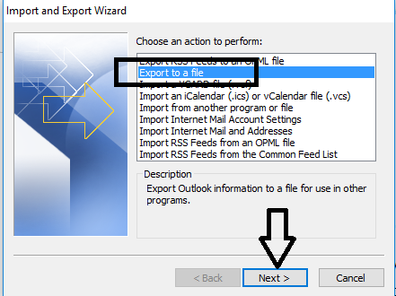 export file outlook 2016