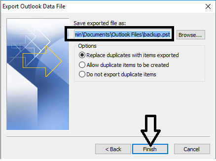 save data file outlook 2016