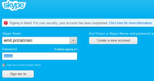 skype suspended account