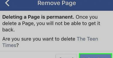 how to facebook page delete