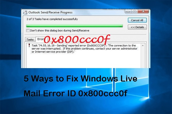 0x800ccc0f error id live mail