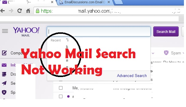 yahoo mail search not working