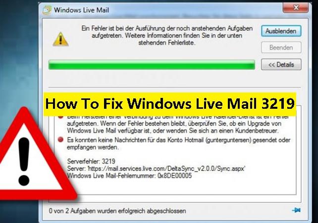 windows live mail error 3219