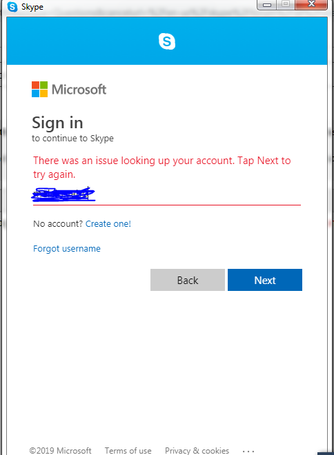 there was an issue looking up your account skype